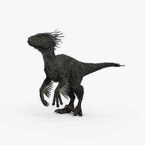 3D raptor dinosaurs model