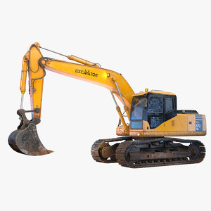 3D x excavator pbr model