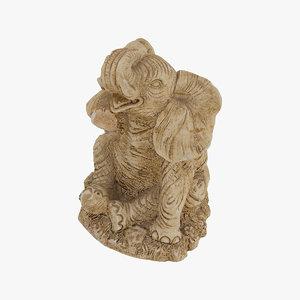 3D elephant statue raw scan model