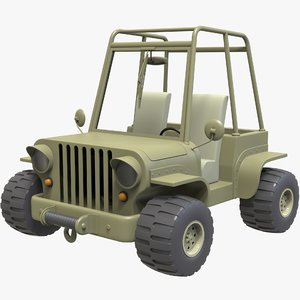 3D model cartoon jeep car