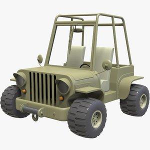 3D model cartoon jeep car