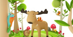 3D model forest animals cartoon octane
