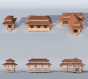 3D traditional tea house