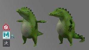 crocodile cartoon 3D model