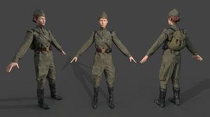 3D model sniper woman