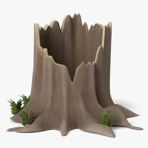 3D cartoon tree stump