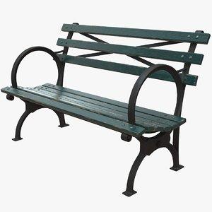 realistic bench short green model