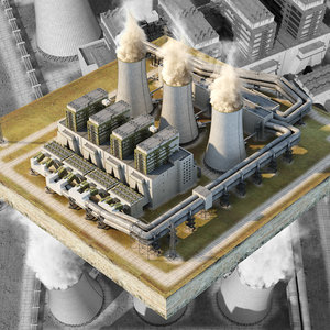 3D coal power plant station