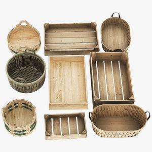 3D wooden fruit basket 9