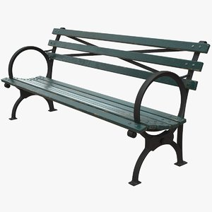 realistic bench middle green 3D model