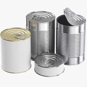 real food tin cans 3D