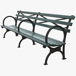 3D realistic bench long green model