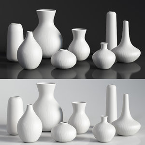 restoration matte white glass vase 3D model