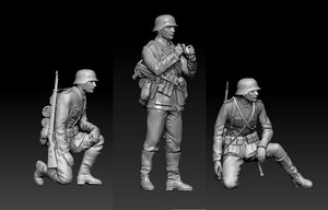 german officer soldiers 3D model