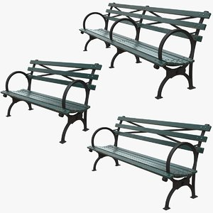 3D model realistic bench green