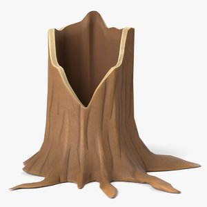 cartoon tree stump 3D