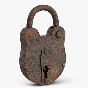 rusty padlock 3D