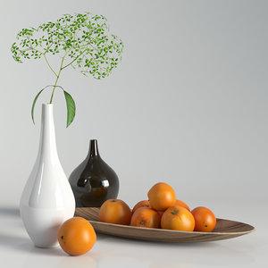 decorative set oranges 3D model