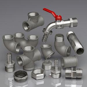 3D model pipe water metal