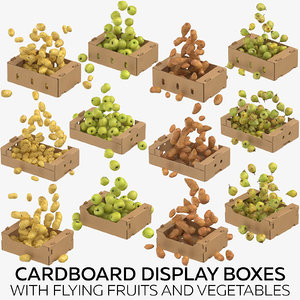 3D model cardboard display boxes flying