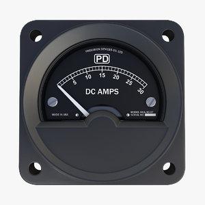 vintage dc ammeter 10 3D model