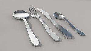 3D cutlery spoon fork knife