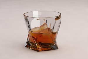 glass whiskey ice 3D