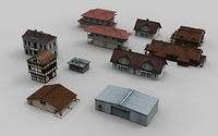 11 City Houses and Buildings Model Collection Low-poly 3D model