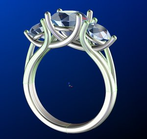 3D 3 stone diamond