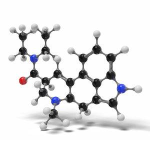3D lsd molecule c20h25n3o modeled