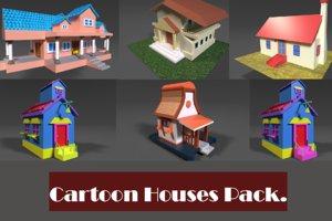 fantasy cartoon houses pack 3D model