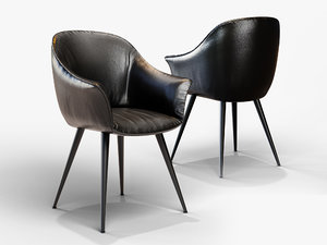 3D leather chair black model