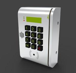 door swipe card reader 3D