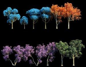 spring trees pack 3D model