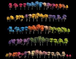 3D spring trees hd model