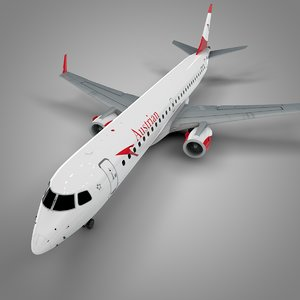 3D austrian airlines embraer195 l678 model