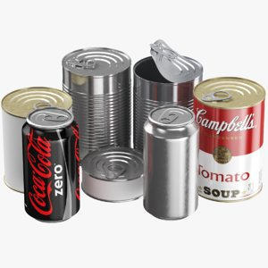 real food tin cans 3D model