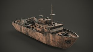 3D rusted abandoned vessel
