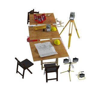 building site table tools 3D