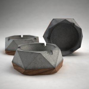 concrete wood ashtray ashley 3D model