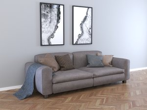 3D leather sofa - model