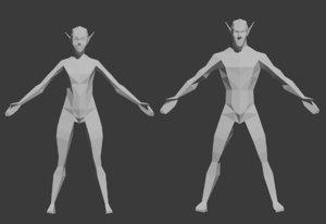 3D male female elf model
