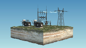 electrical substation sub 3D model