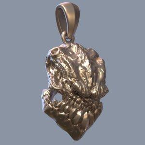 groll skull pendant 3D
