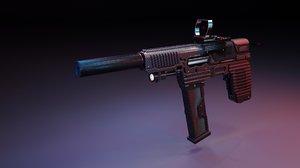 3D smg gun red dot model