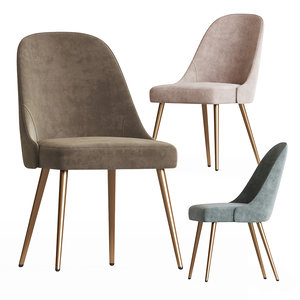 upholstered dining chair metal 3D model
