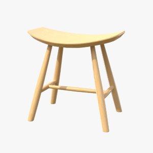 stool wood 3D model