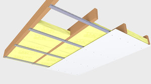 ceiling wood insulation 3D model
