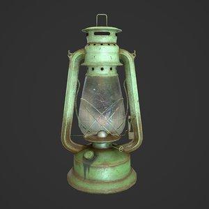 3D oil lantern pbr low-poly model