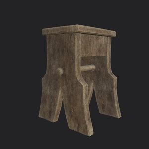 medieval rough stool 3D model